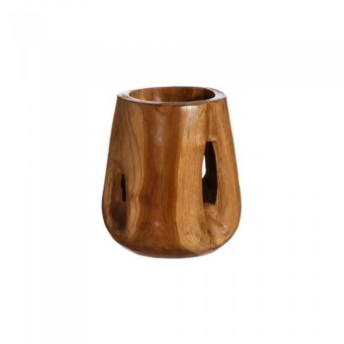 Jarrón en madera de teka natural