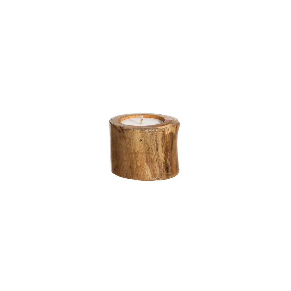 portavelas en madera de teka
